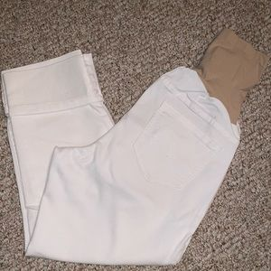 Crop white maternity jeans